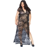 LEG AVENUE LACE KAFTEN ROBE AND THONG 1XL-2XL