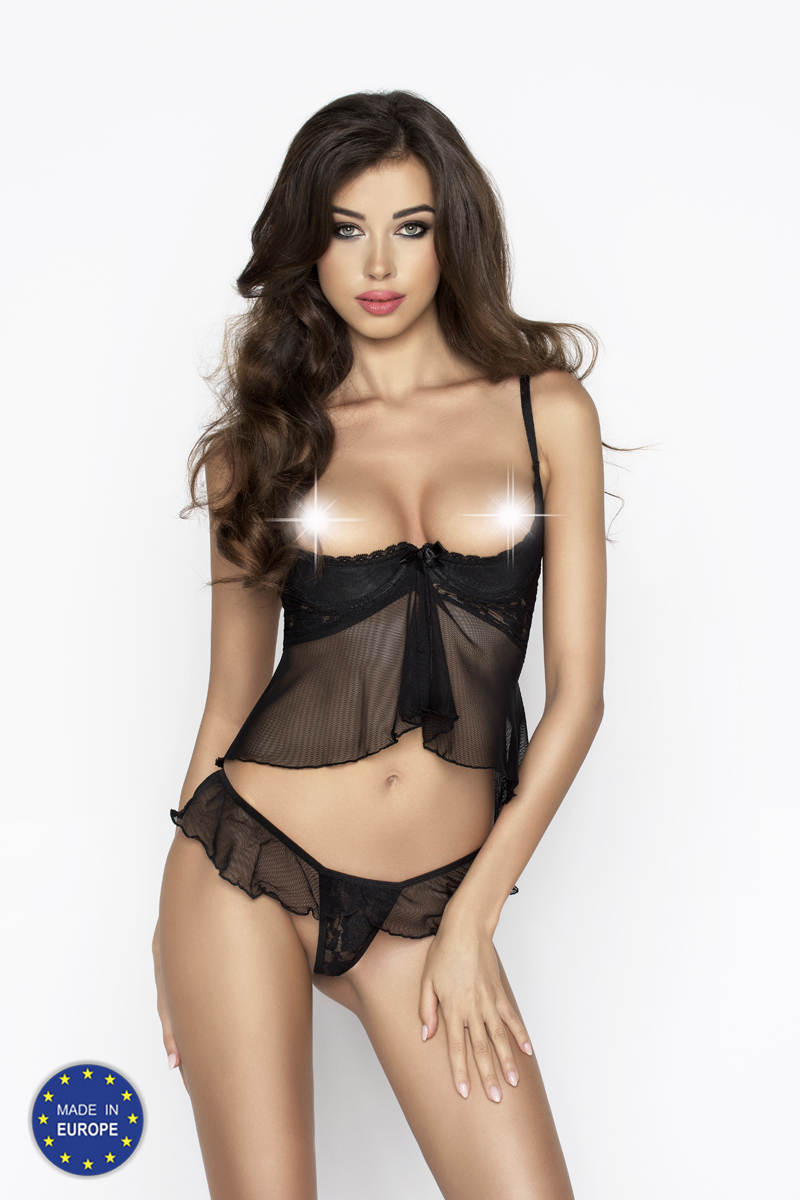 Passion IMAGINE SET WITH OPEN BRA black S/M