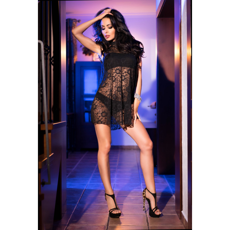 Chilirose  Black Lacedress with Top and Panty CR 4082